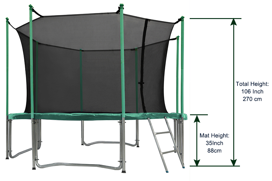 Orcc 15 Ft Trampoline With Enclosure Net And Safty Pad