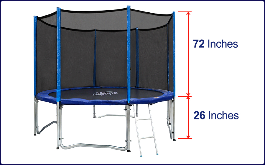 Zupapa 12ft Bounce Tuv Tramoline With Net Enclosure Safety