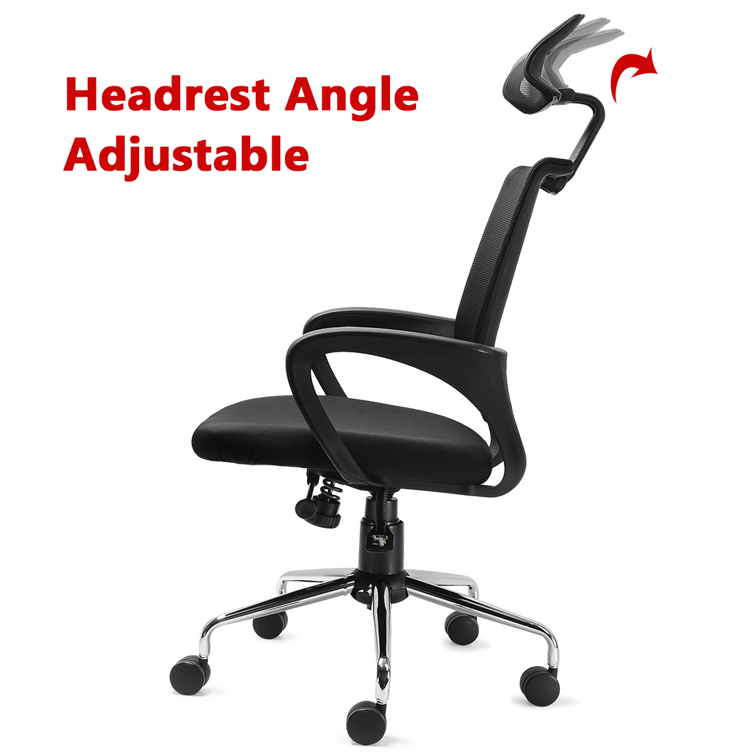 mesh ergonomic office chair with adjustable headrest and lumbar support ebay. Black Bedroom Furniture Sets. Home Design Ideas
