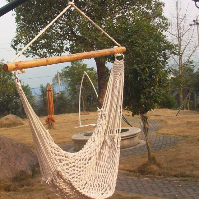 New hanging sky deluex porch cotton swing rope hammock for Fabric hammock chair