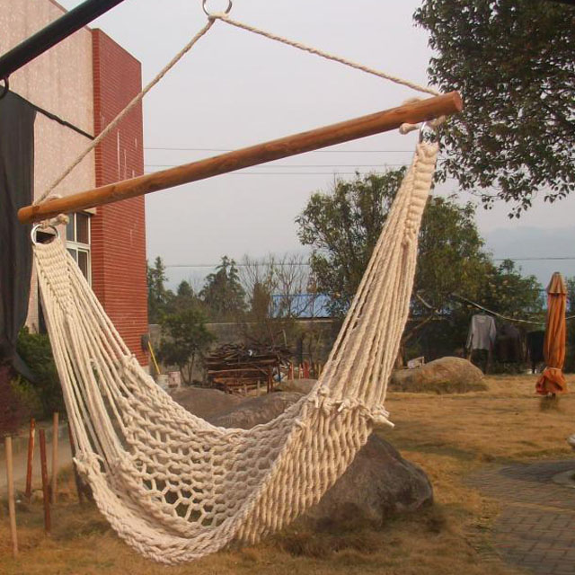 New hanging sky deluex porch cotton swing rope hammock for Fabric hammock chair swing