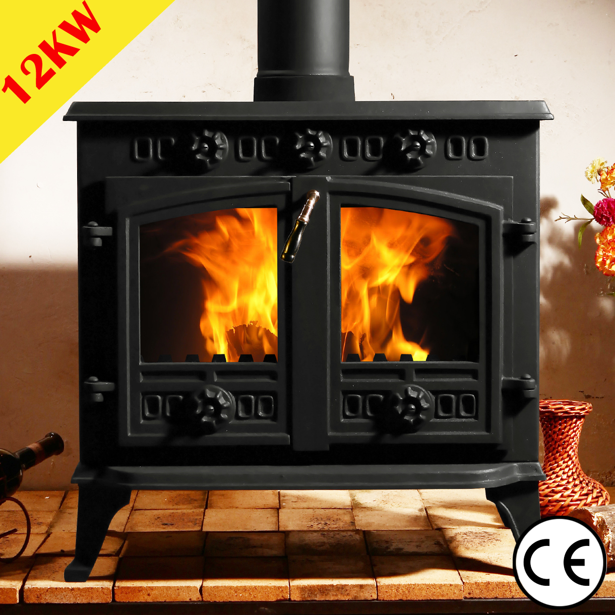 5 5kw multifuel stove cast iron log woodburner high for Small efficient wood stoves