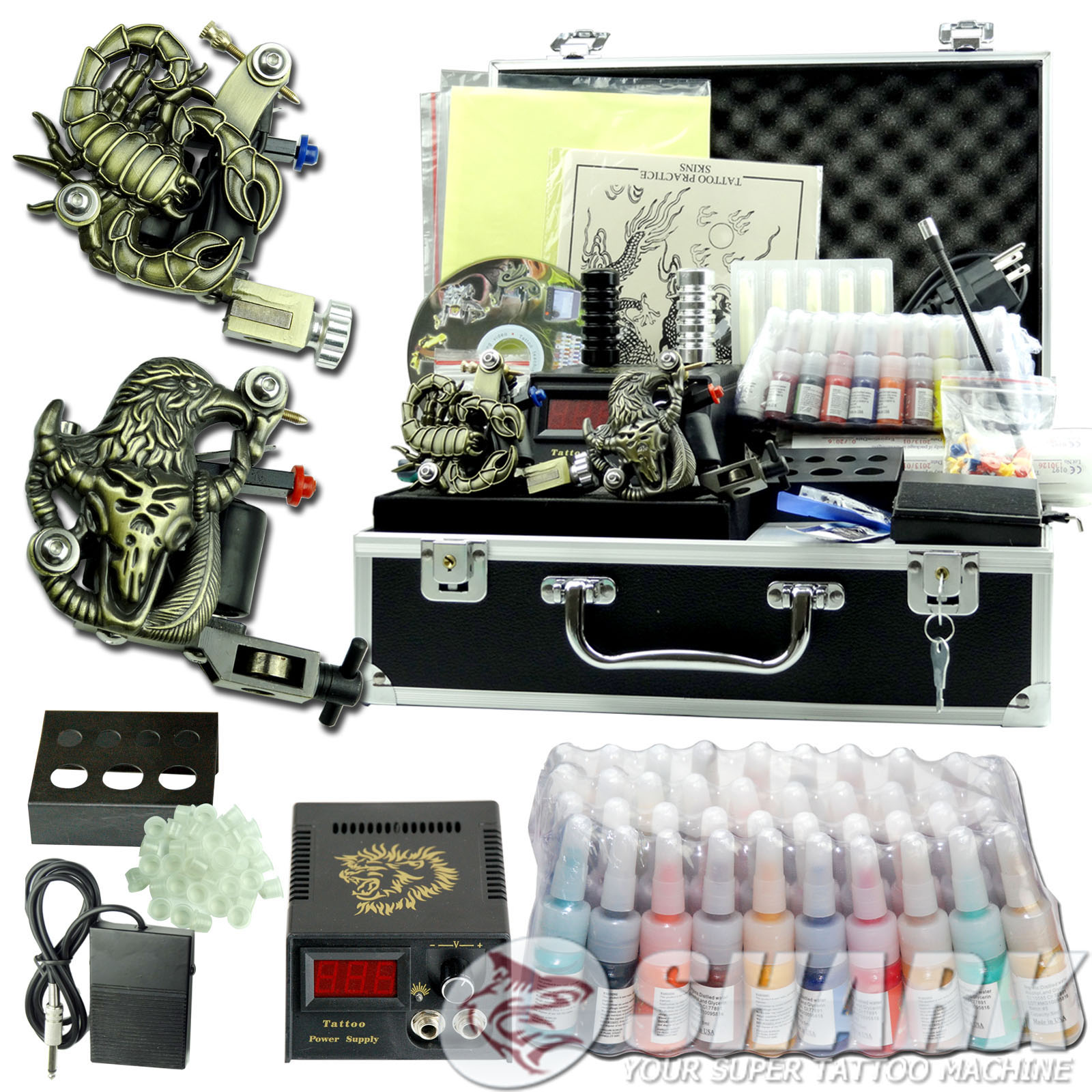 New complete tattoo kit 2 machines gun 40 usa inks top for Tattoo supplies ebay