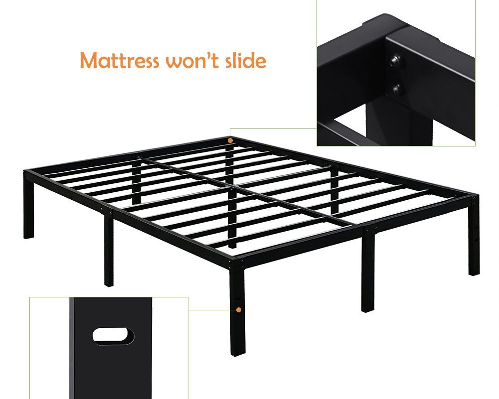 Steel Bed Frames Queen Metal Bed Frames Queen Size Extra: 3000lbs Max Weight TATAGO 16inch Heavy Duty Platform Bed