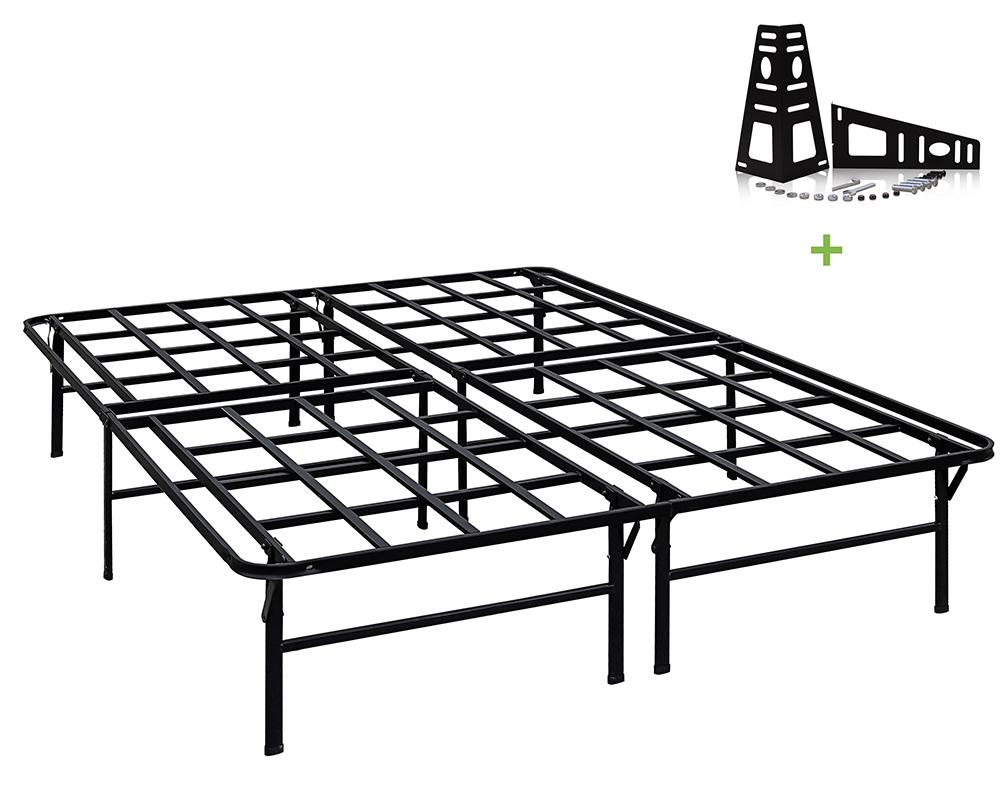 tatago 16inch tall heavy duty platform bed frame 2 set headboard bracket queen 6936474023631. Black Bedroom Furniture Sets. Home Design Ideas