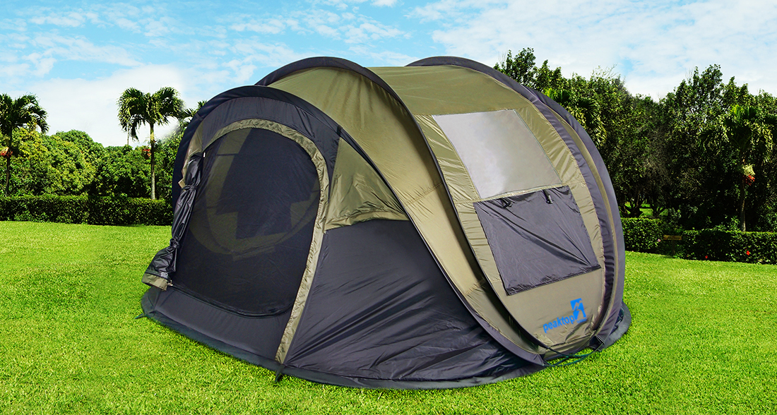 Peaktop 4 person Automatic Pop-up tent Waterproof C&ing Beach Tent with Mesh Sidewalls and Doors & Peaktop Instant Automatic Pop up Camping Tent 3-4 Person Family ...