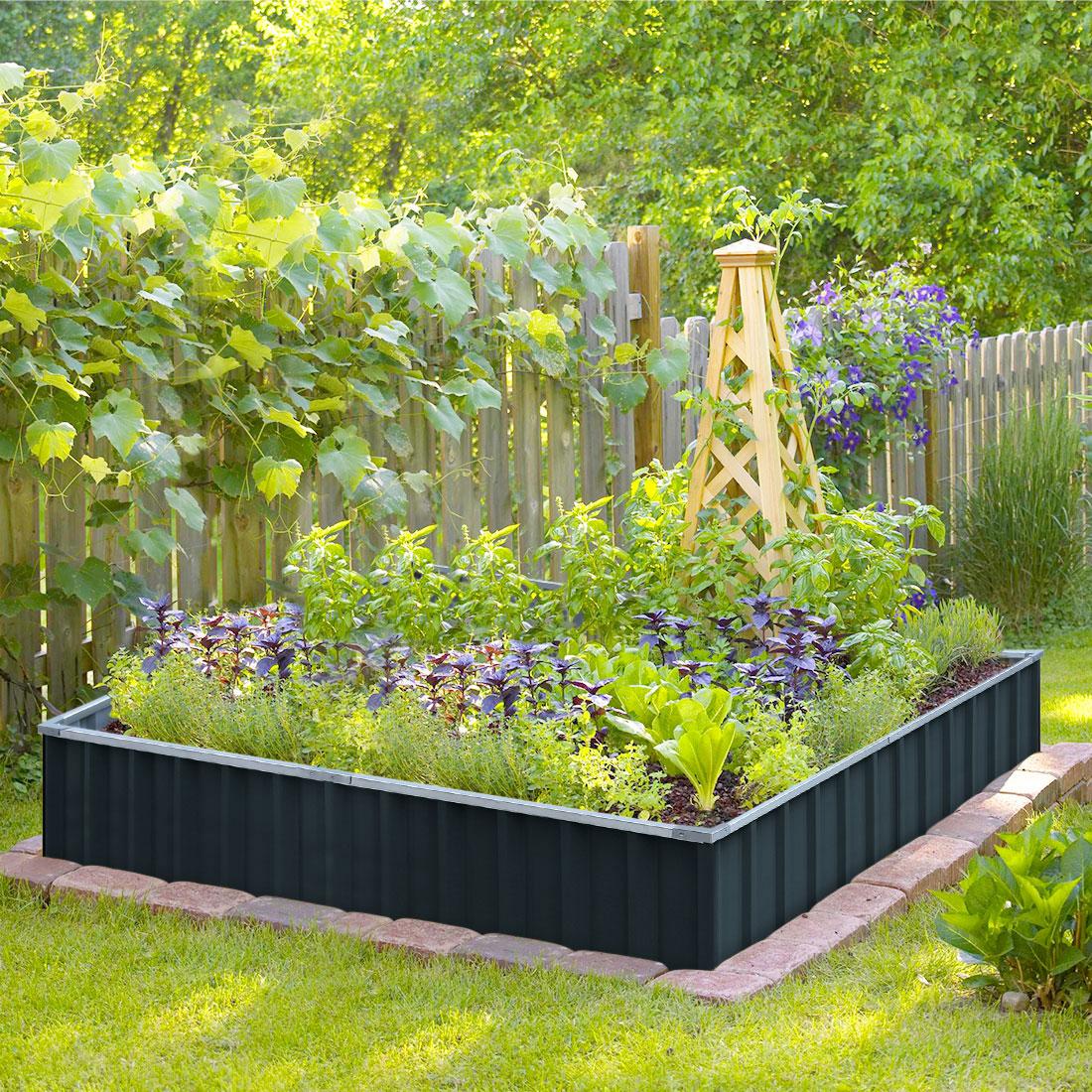 KING BIRD 5.6′x5.6′ Galvanized Metal Raised Garden Bed