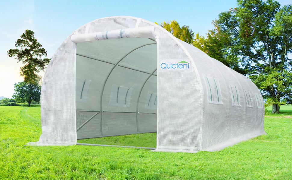 Quictent Upgraded 20 X10 X7 Portable Greenhouse 2 Doors 20 Stakes 4 Ropes White Ebay